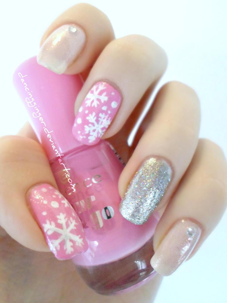 Pink Snowflake Nail Art by DancingGinger on DeviantArt