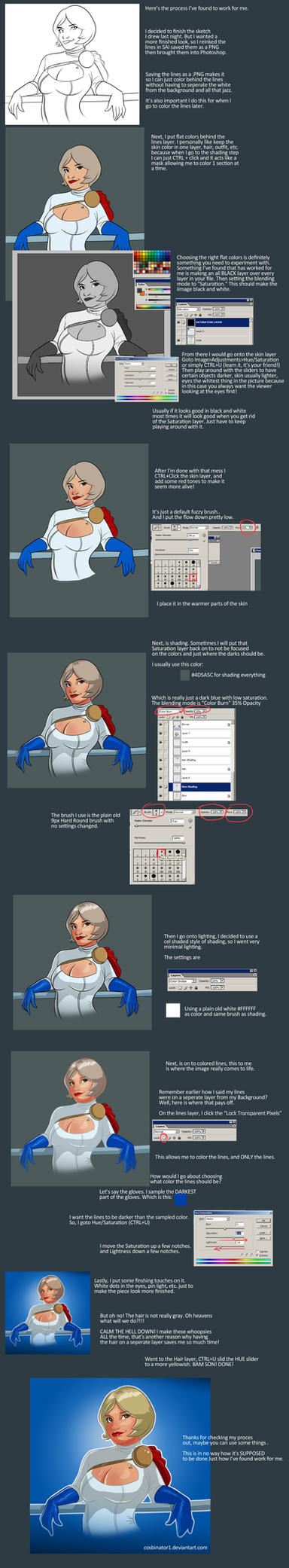 Powergirl Color - My Process by TheCosbinator
