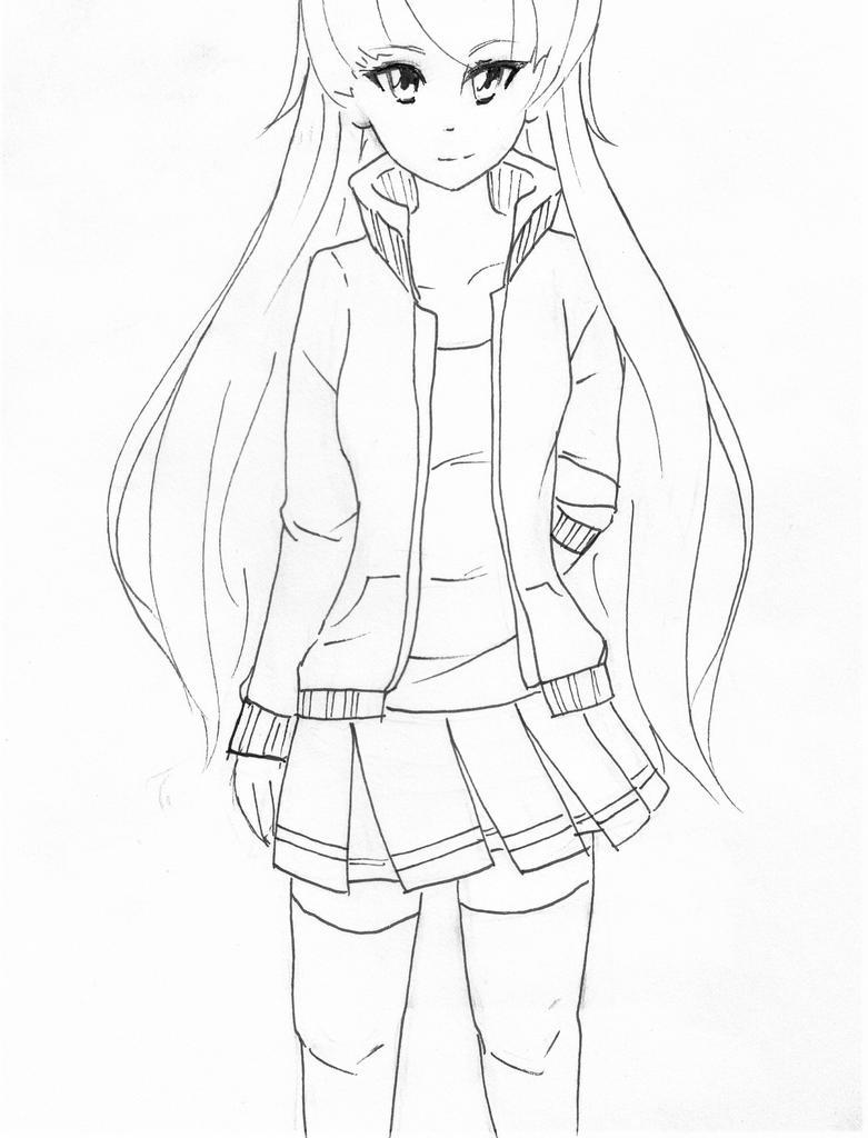 Line Drawing Jacket : Manga girl in jacket by alkalightning on deviantart