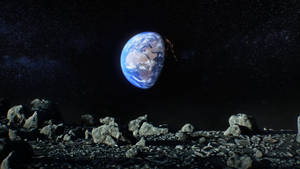 Moon Landscape and Earth