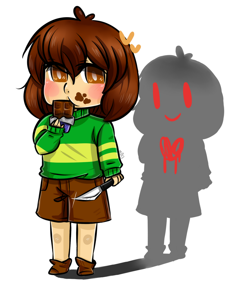 Frisk Chara Eating Pie And Chocolate