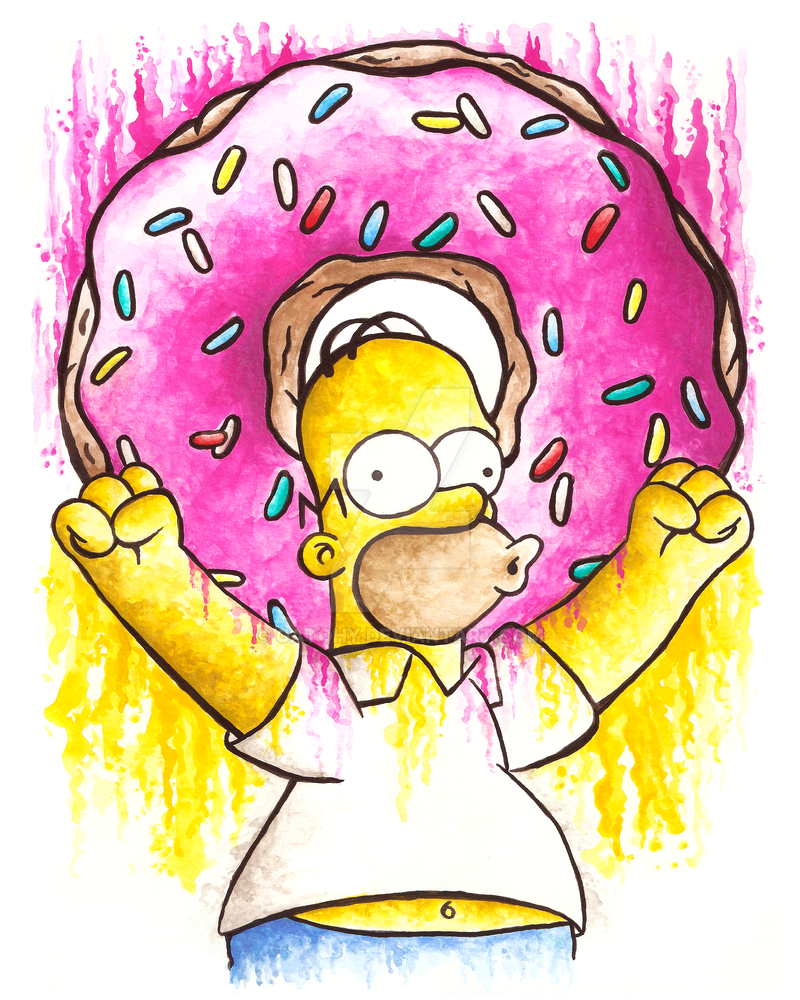Homer Simpson And His Donut By Gatohy On Deviantart
