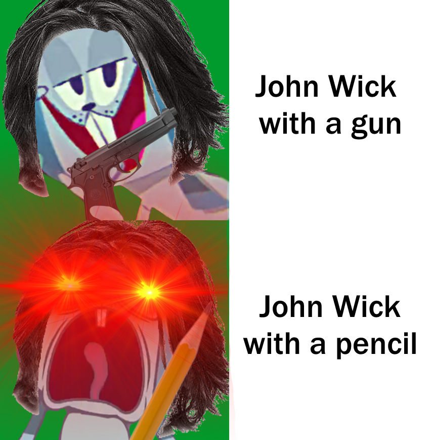 John Wick Pencil Meme Glowing Red Eyes Ver By Kdgamer015 On Deviantart