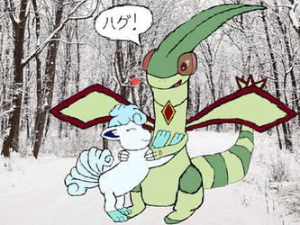 Flygon (Me) Hugging a Alolan Vulpix