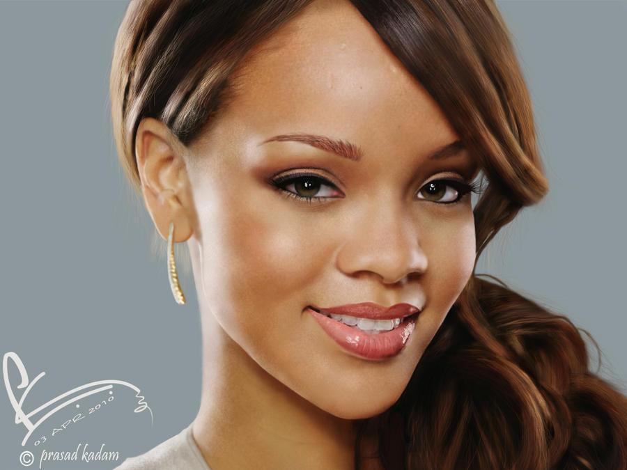 Rihanna Digital Painting by prasad0077
