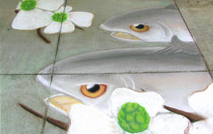 Fish and Dogwood Chalk Mural by tayba