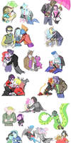 Sketch Dump 29: (Simplified Monster High Couples)