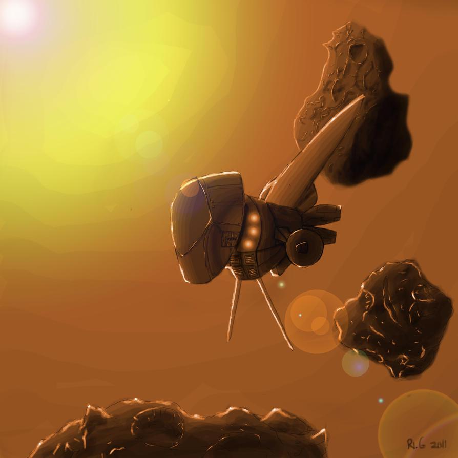 Starship in Asteroids by steinerwolf
