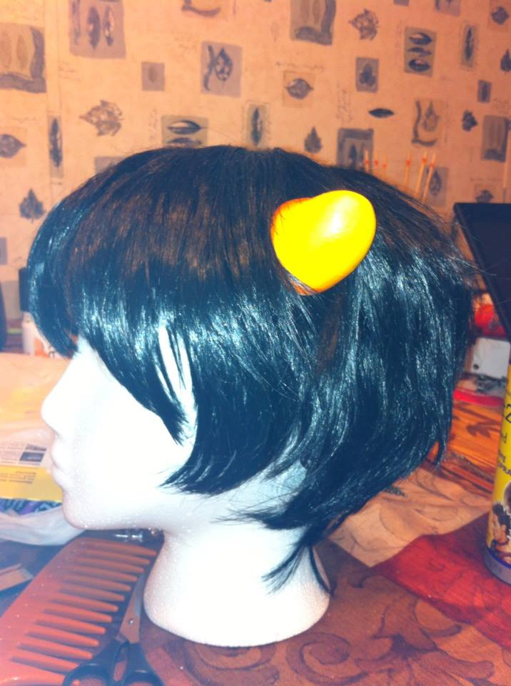 Karkat Cosplay Horns Karkat Cosplay Wig Sideview by