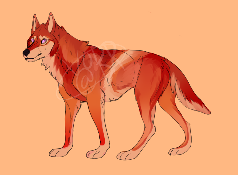 Red Dog/Wolf Adopt (POINTS - Closed) by Vodd