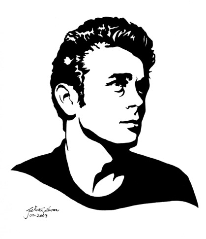 james dean black and white painting - photo #2