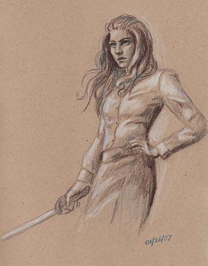 Lady with Sword, sketch by jackieocean