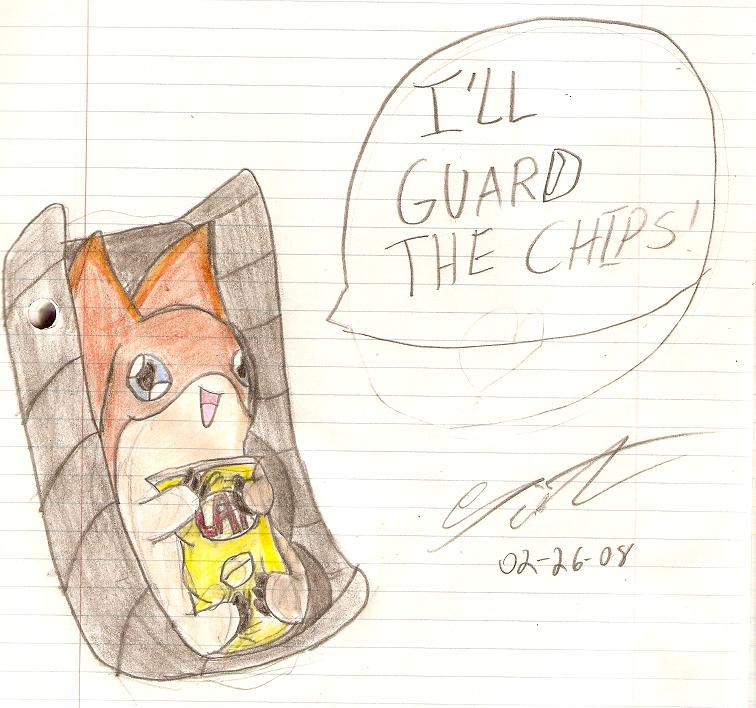 Patamon Guards The Chips by SeiferA