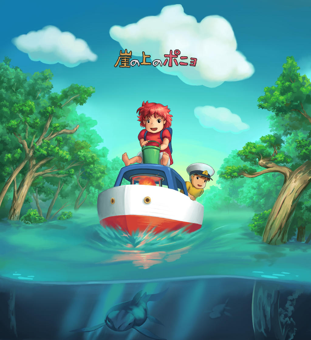 Ponyo on the Cliff by the Sea by Booshnig on DeviantArt
