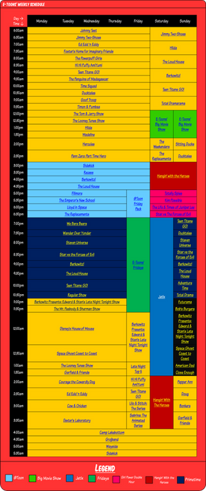 E-Toons' Weekly Schedule
