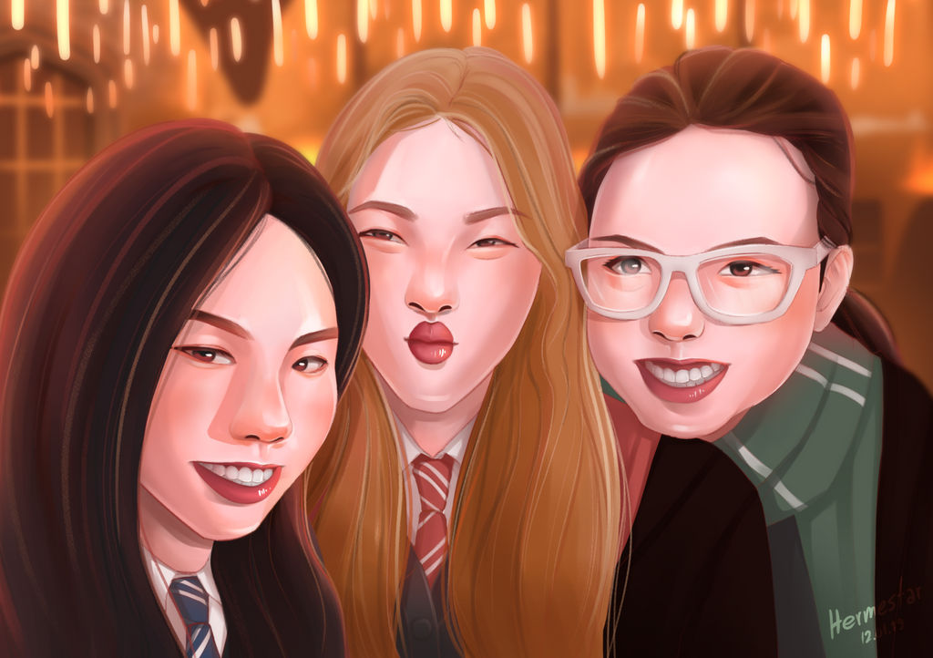 Me and My Friends in Hogwarts Uniform by hermestar