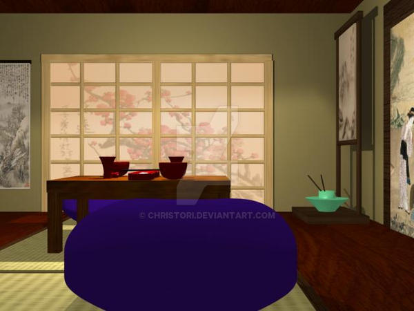 Japanese dining room 2 by christori on deviantart for Llwyn y brain dining room