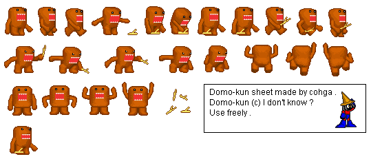 Domo-Kun Sprite Sheet (Color Correction) by TheDarkHandy