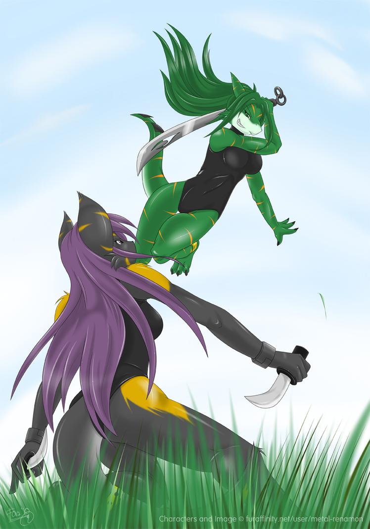 Mock Battle - Mizuki and Minami by MetalRenamon