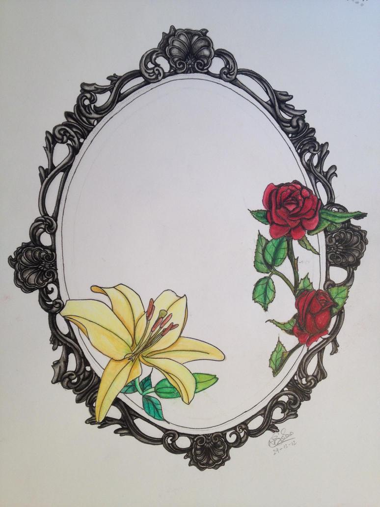 Vintage heart frame tattoo