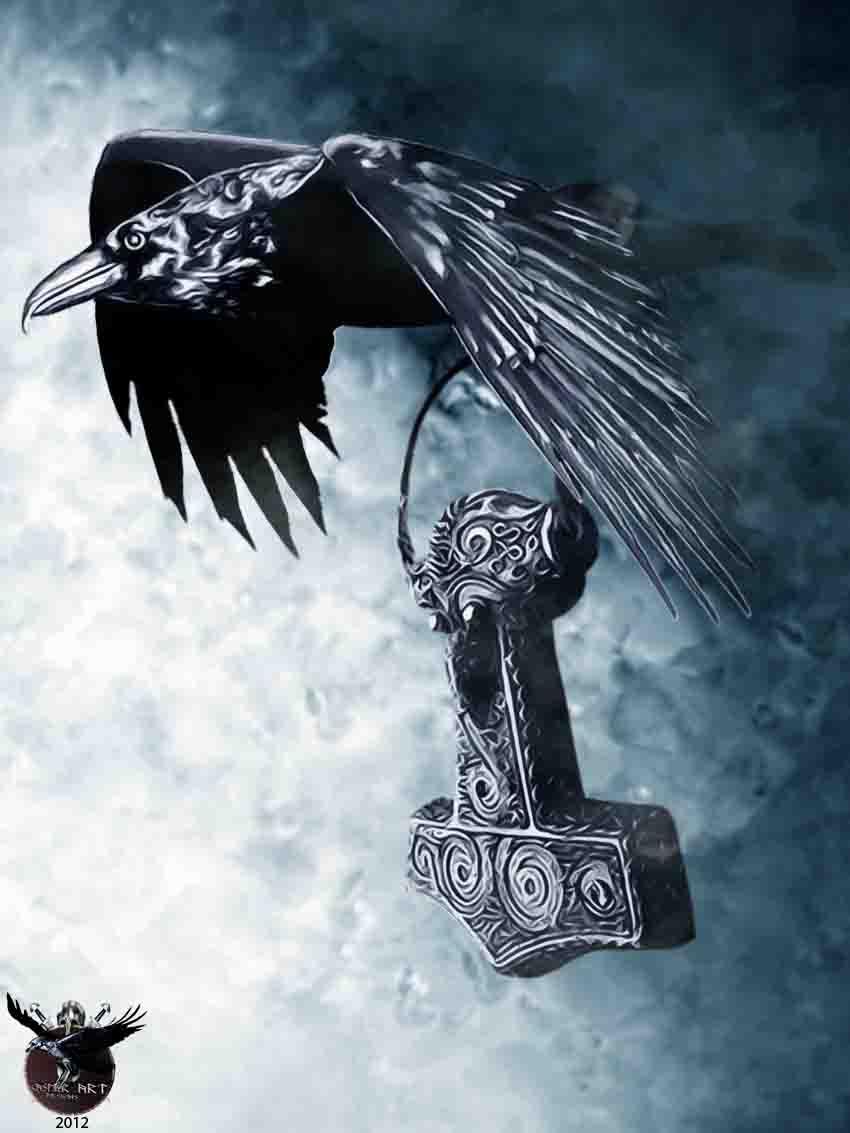 Тату ворон у викингов