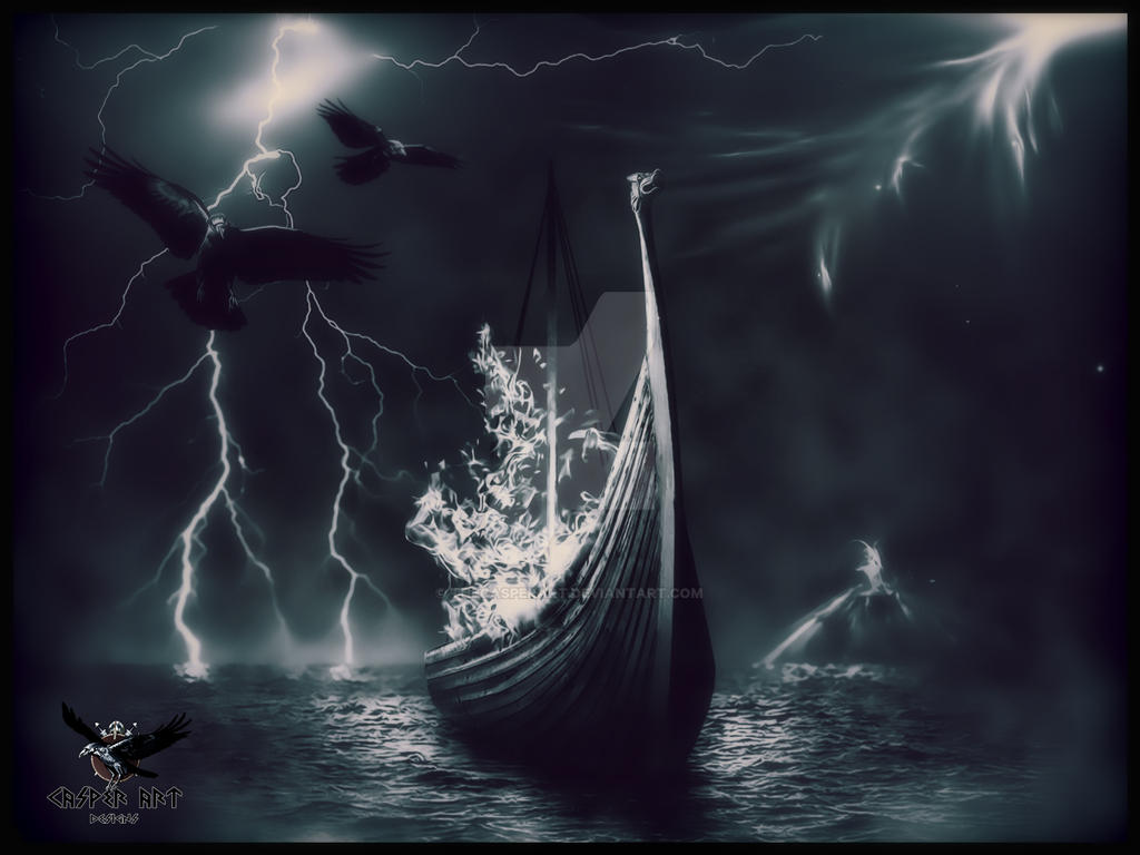 Viking funeral by thecasperart