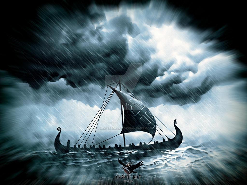 Drakkar on a rough sea by thecasperart on DeviantArt