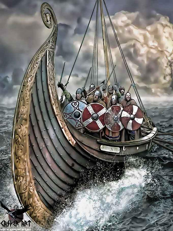 Vikings on a Longship by thecasperart on DeviantArt