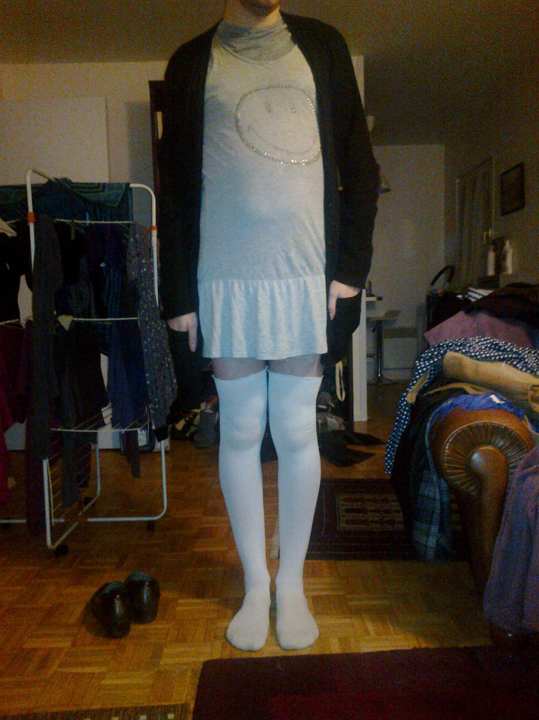 Me in white stockings and grey smiley nightgown by nagato for Fish nets near me
