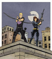 Clint and Natasha (Hawkguy-style) by astridv
