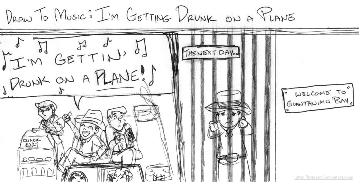 Draw to Music: Drunk On A Plane by brensey