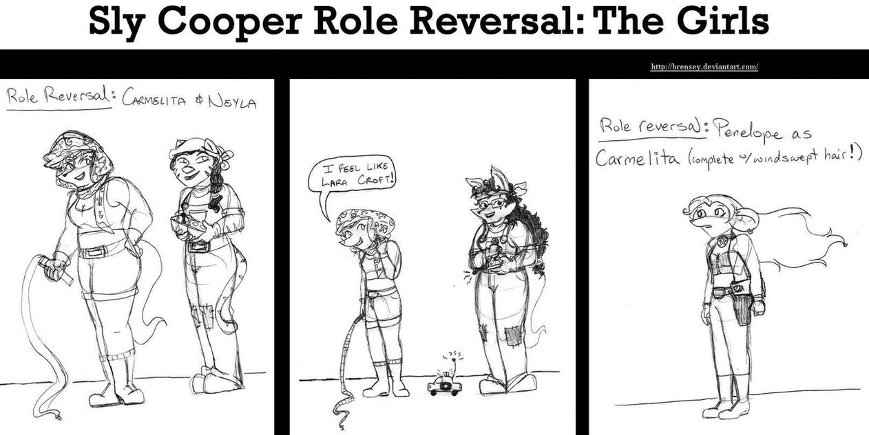 Sly Role Reversal: The Girls by brensey