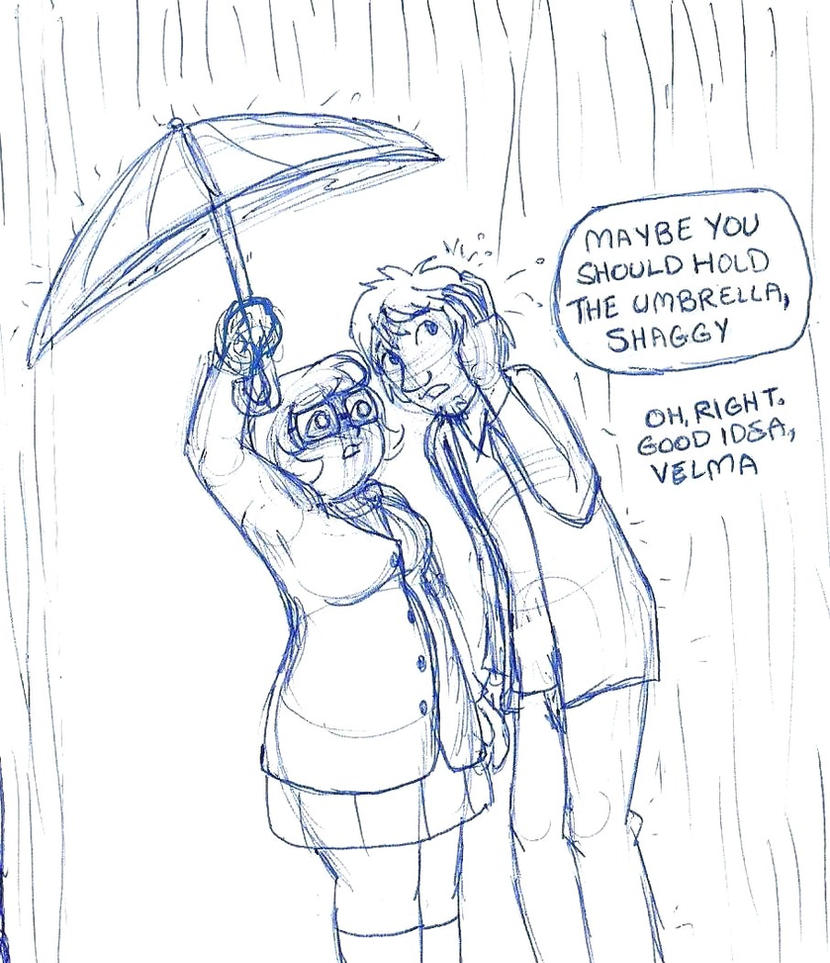 Rainy Day Shaggy and Velma by brensey