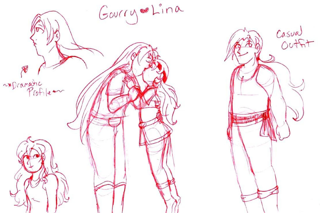 Lina and Gourry scribbles by brensey