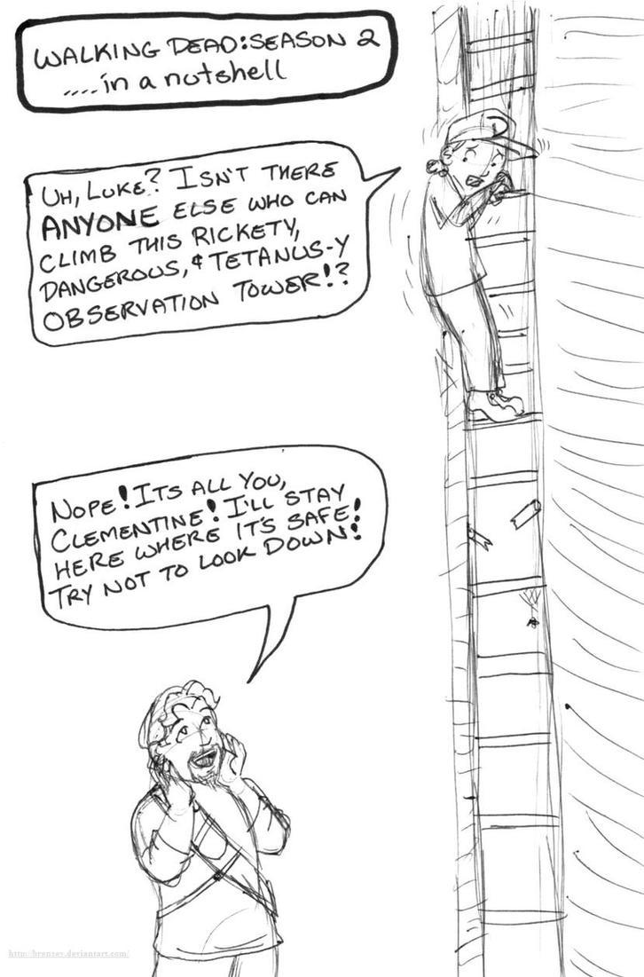 Walking Dead Season 2 in a nutshell (tower climb) by brensey