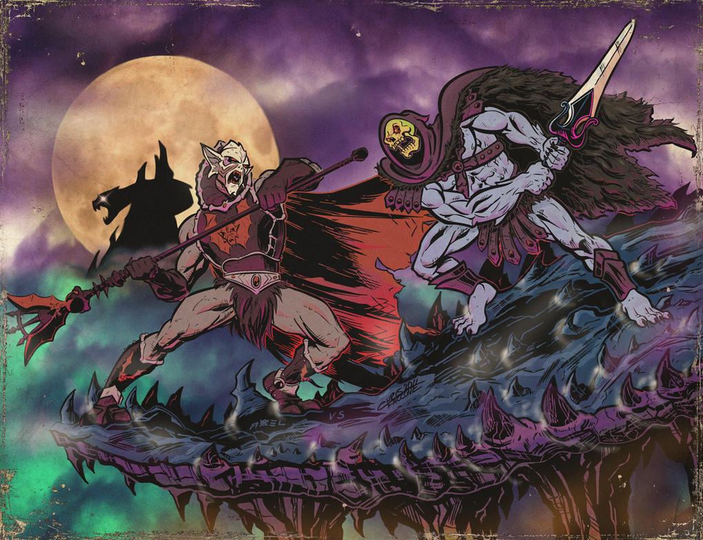 HORDAK VS SKELETOR distress by ChrisFaccone