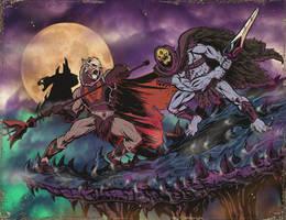 HORDAK VS SKELETOR distress by ChrisFaccone