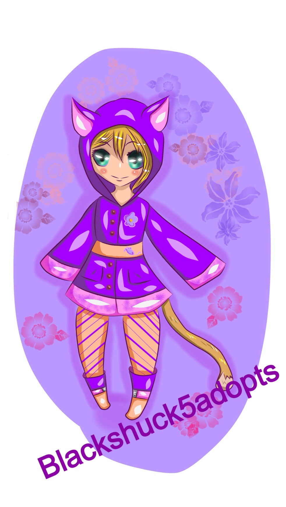 Purple Rain Cat Adopt! (CLOSED) by blackshuck5adopts