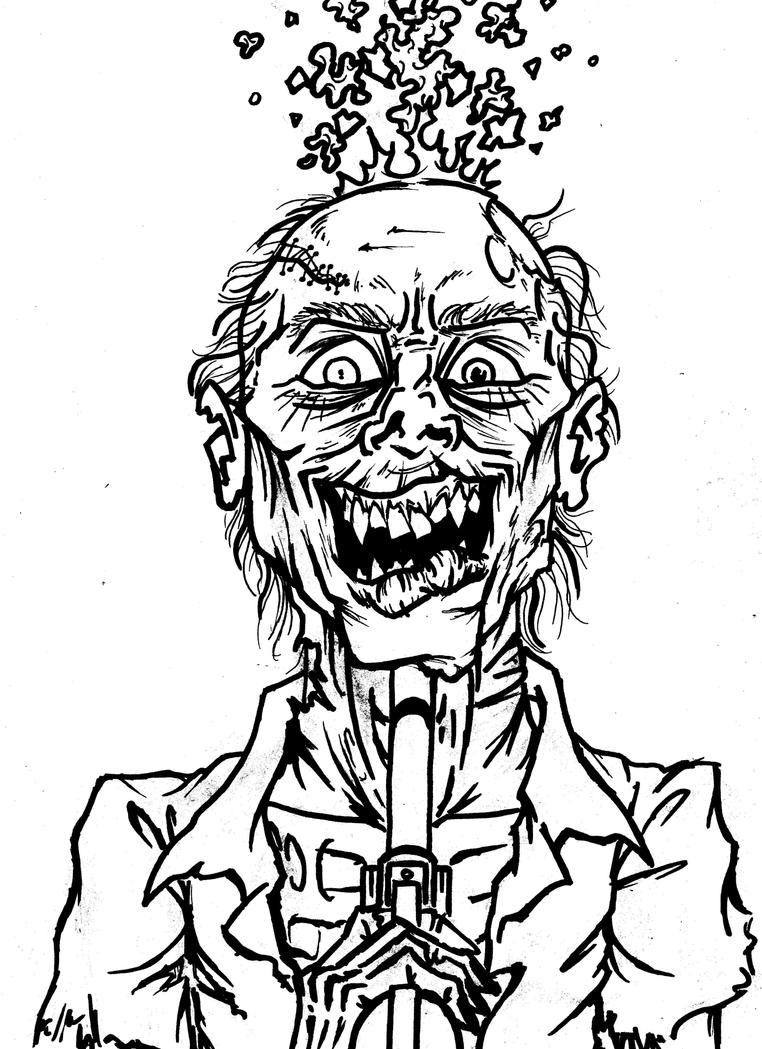 Line Drawing Of A Zombie : Zombie suicide line drawing by yourstruly on deviantart