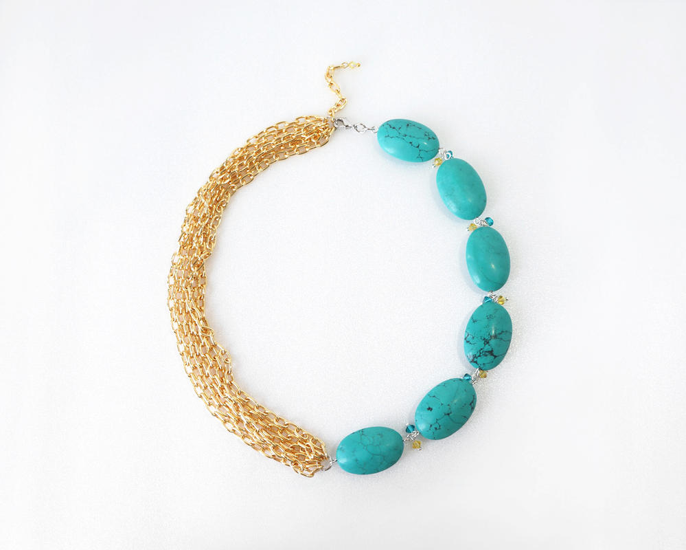 gold turquoise necklace by treecraftdiary on deviantart