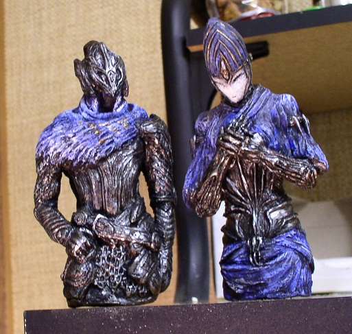 Dark Souls Artorias And Ciaran busts by futantshadow