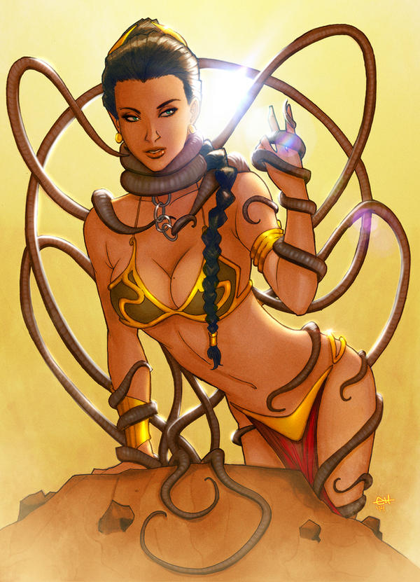 Sarlaac and Slave Leia by eHillustrations