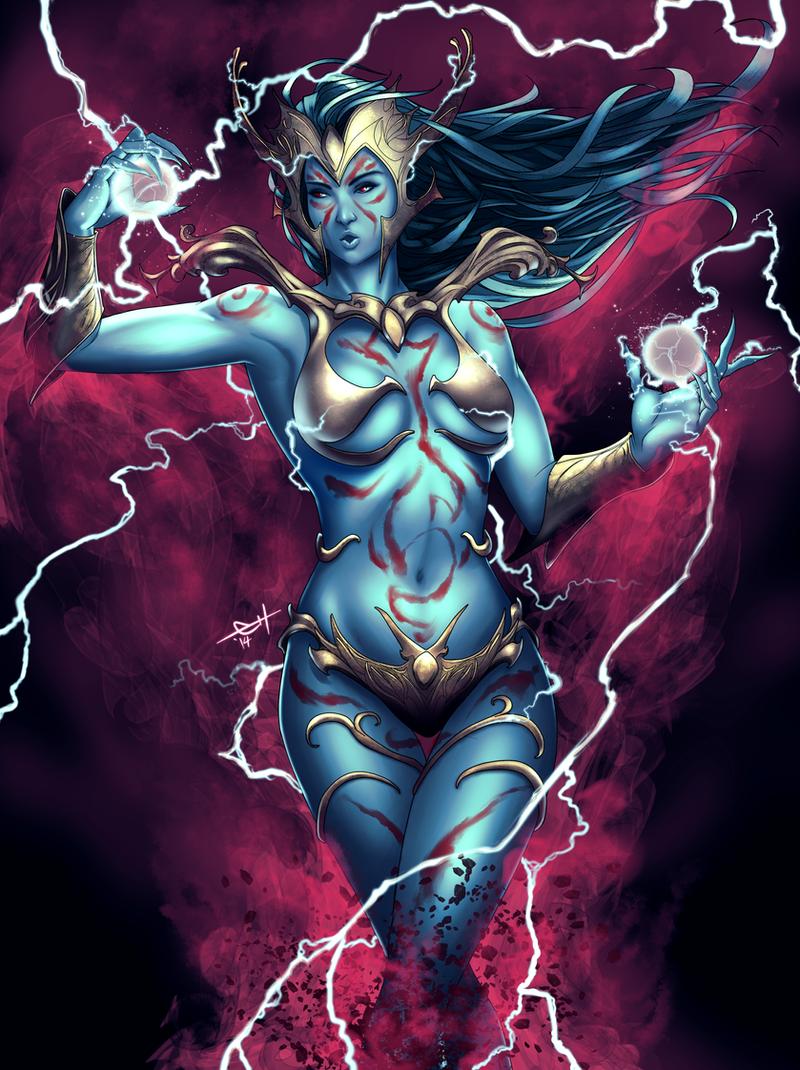 Sha'zhin Majhad - Elvish Witch/Sorceress by eHillustrations
