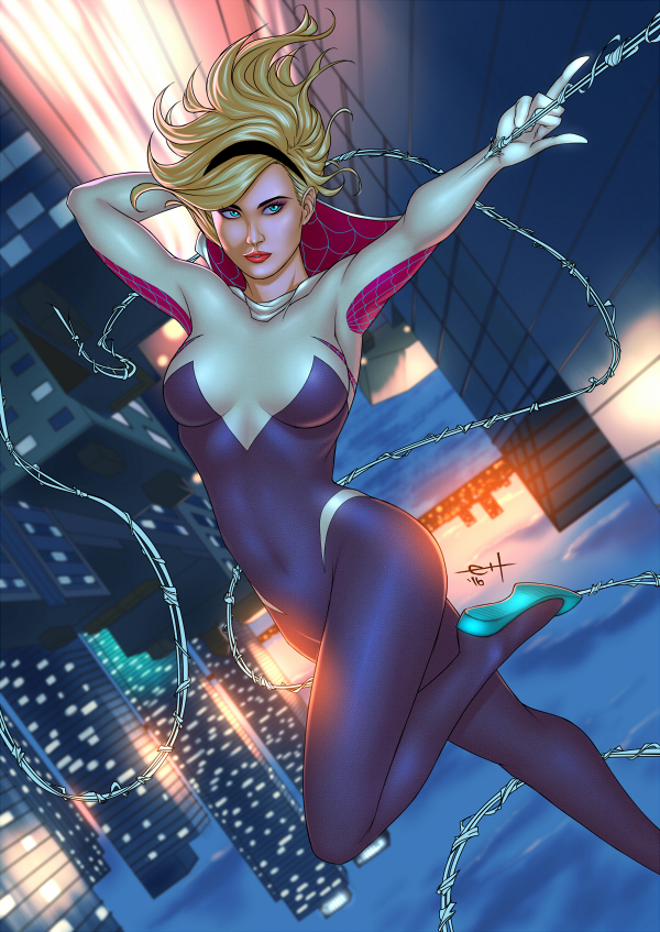 Spider-Gwen - Sunset Swing by eHillustrations