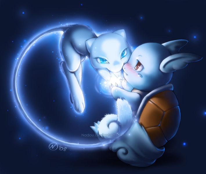 Shiny Mew and Wartortle by Nadou on DeviantArt