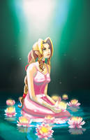 Aerith and waterlilies by Cezann
