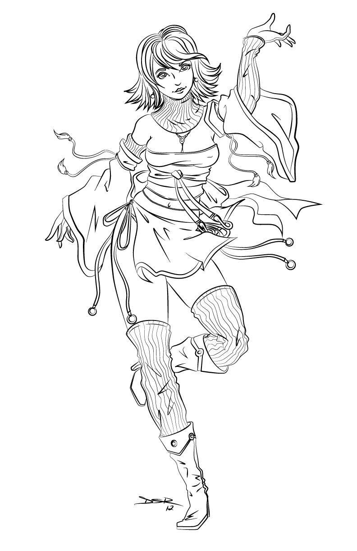 Line Drawing Dancer : Fantasy girl dancer vector line art by thek n on deviantart