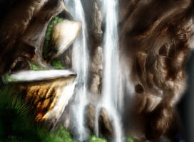 At the bottom of waterfall by snakeartworx