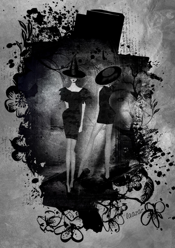 Two Witches In Black Mini Dresses by Laazar