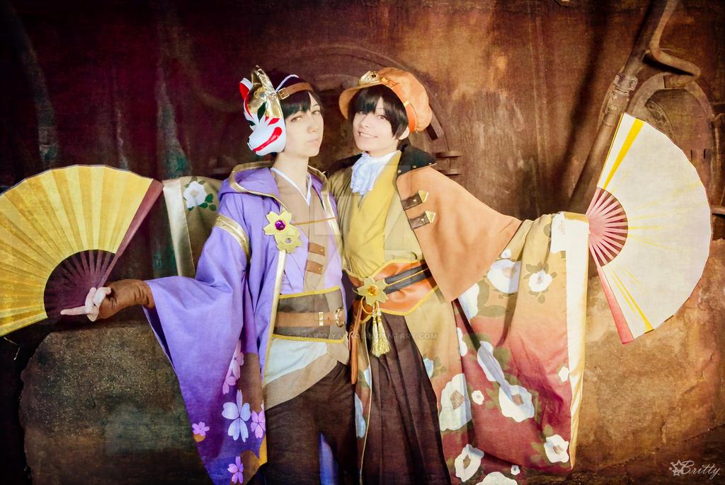 Japanese Steampunk Ichimatsu and Jyushimatsu by SharyNyanko